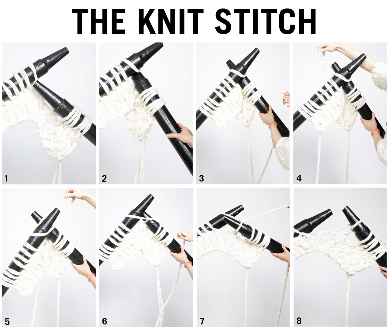 How to knit with super size needles - The knit stitch