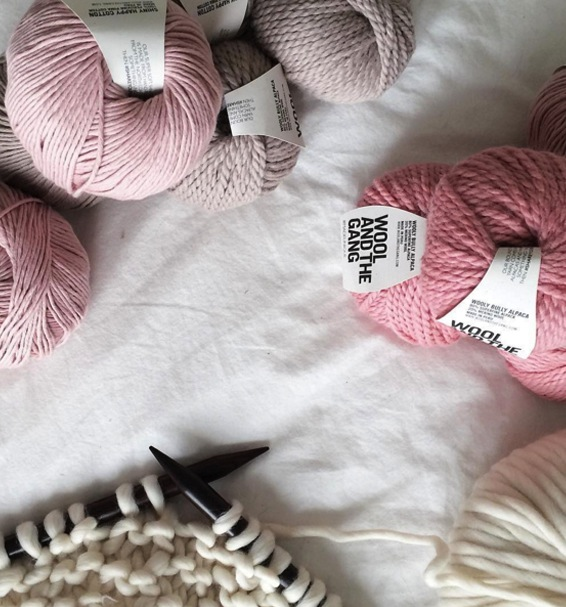 Pink and ivory peruvian yarn